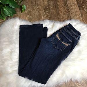 White House black market contour flare leg jeans
